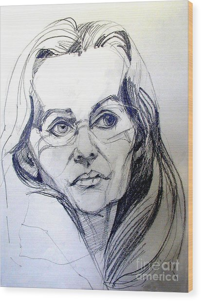 Graphite Portrait Sketch Of A Woman With Glasses Wood Print