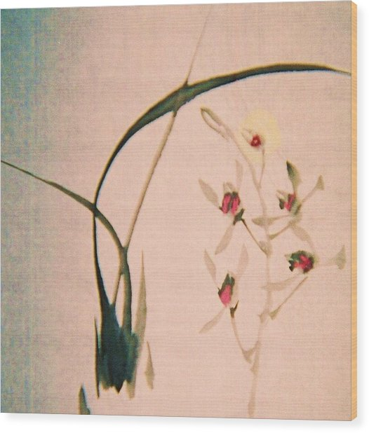 Grass And Buds Wood Print by JuneFelicia Bennett