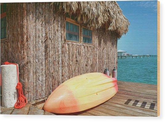 Grass Hut On Ambergris Caye Belize Wood Print
