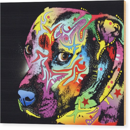 Gratitude Pit Bull Warrior Wood Print