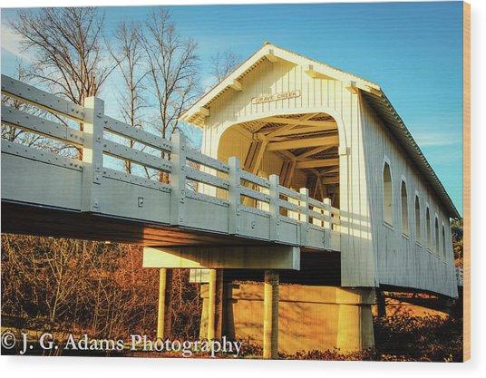 Grave Creek Covered Bridge Wood Print