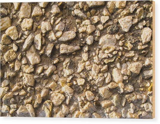 Gravel Stones On A Wall Wood Print