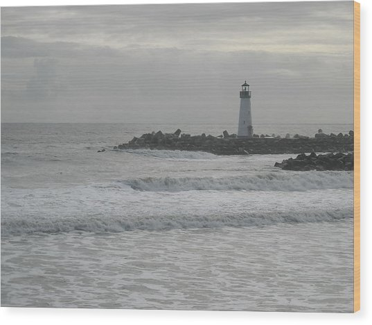 Gray Day Lighthouse Wood Print by Sharon McKeegan