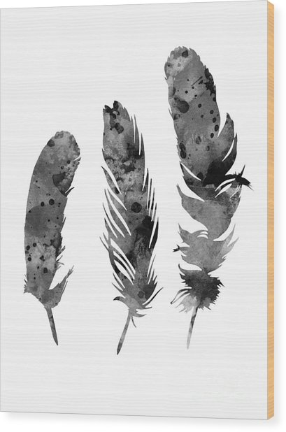Gray Feathers Watercolor Art Print Painting Wood Print