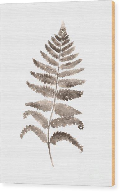 Gray Fern Watercolor Art Print Painting Wood Print