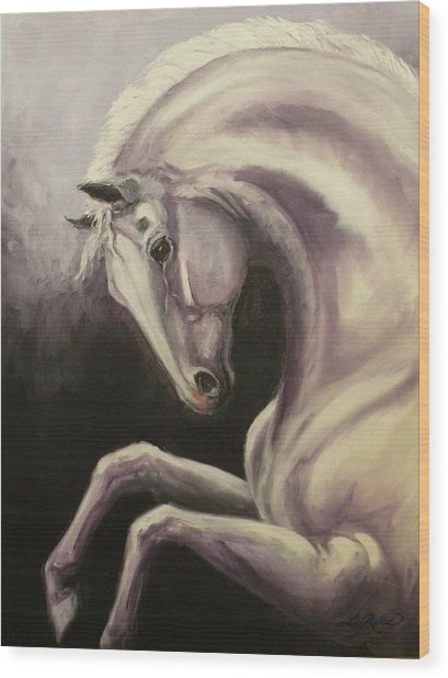 Gray Horse Fantasy Wood Print by Liz Rose