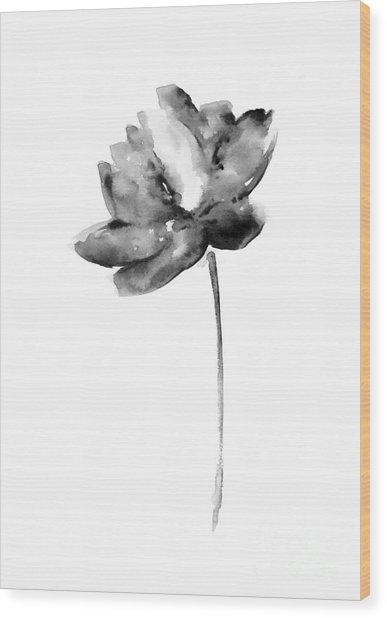 Gray Lotos Flower Watercolor Art Print Wood Print