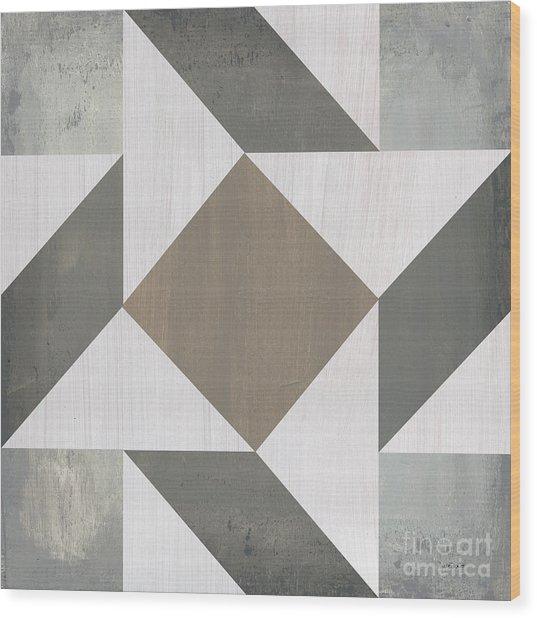Gray Quilt Wood Print