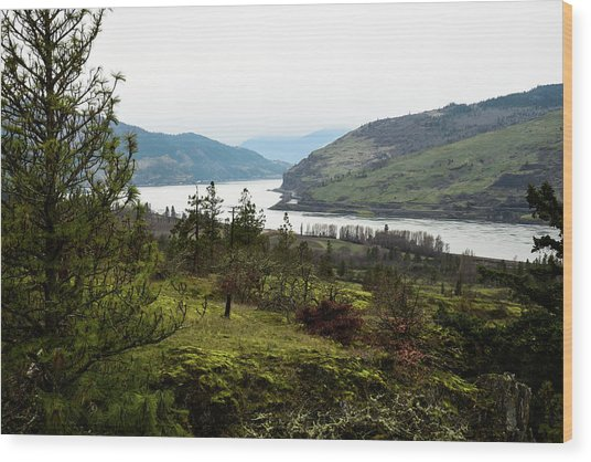Gray Skies Around The Bend Wood Print