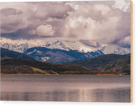 Gray Skies Over Lake Granby Wood Print