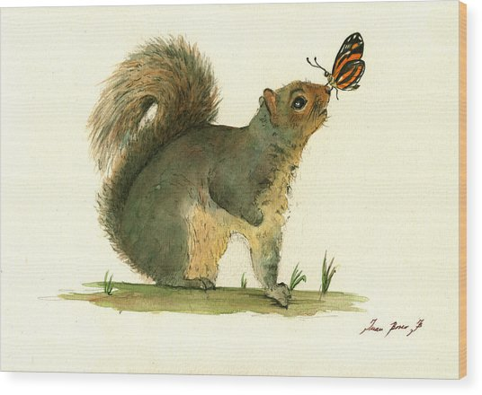 Gray Squirrel Butterfly Wood Print
