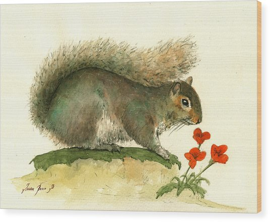 Gray Squirrel Flowers Wood Print