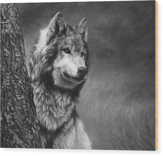 Gray Wolf - Black And White Wood Print