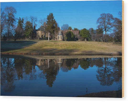 Graylyn House In Reflection Wood Print