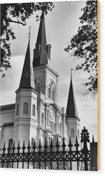 Grayscale St. Louis Cathedral Wood Print