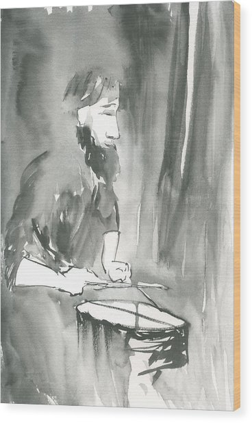 Grayscale Study Of Matthew Smith Wood Print