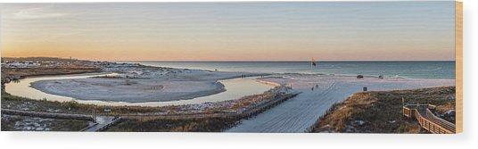 Grayton Beach Dawn Panorama Wood Print