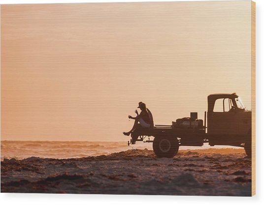 Grayton Beach Flatbed Sunset Wood Print