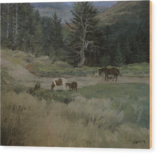 Grazing Wood Print by Richard Ong