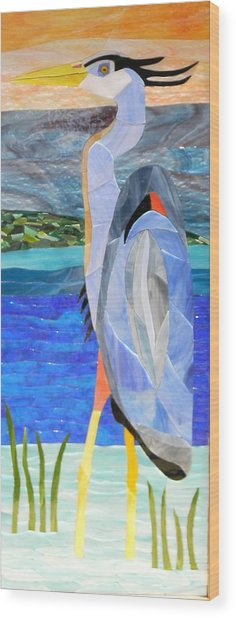 Great Blue Heron 2 Wood Print by Charles McDonell