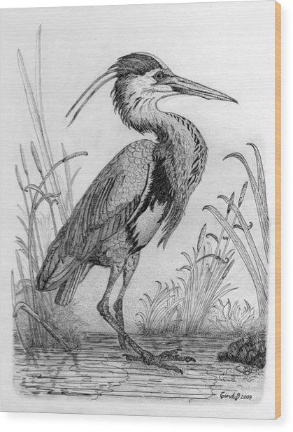 Great Blue Heron Wood Print by Cynthia  Lanka