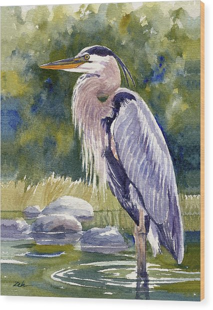 Great Blue Heron In A Stream Wood Print