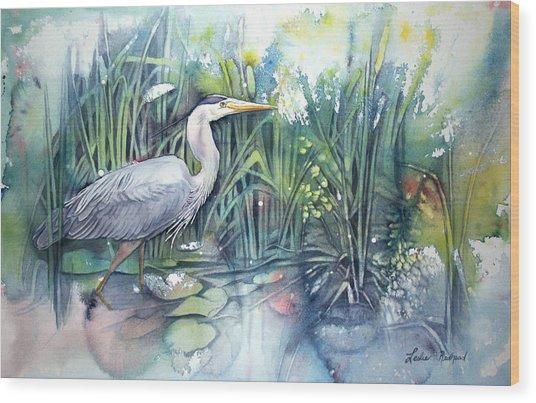 Great Blue Heron Wood Print by Leslie Redhead