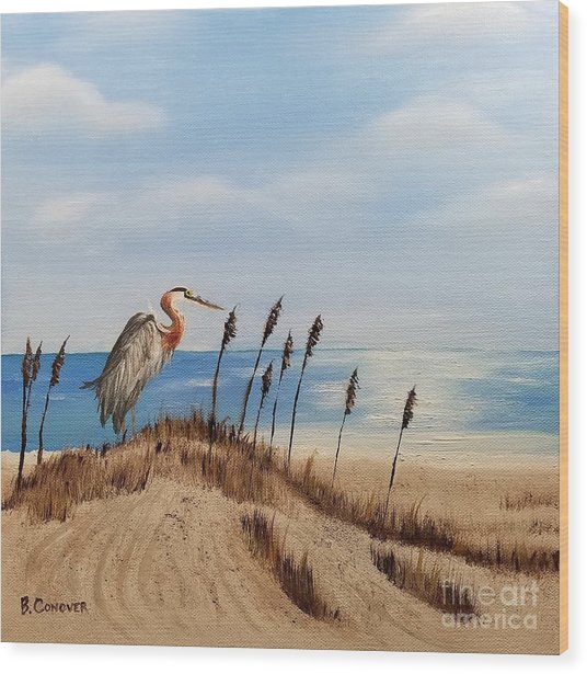 Great Blue Heron - Outer Banks Wood Print