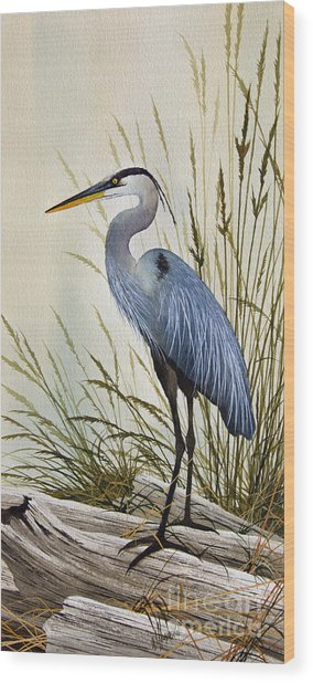 Great Blue Heron Shore Wood Print