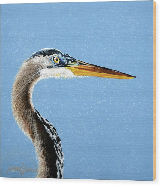 Great Blue Walter Wood Print