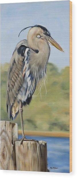 Great Blue Heron Standing Wood Print