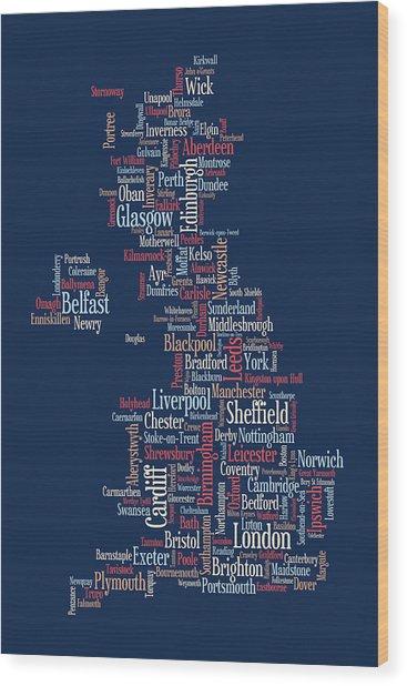Great Britain Uk City Text Map Wood Print