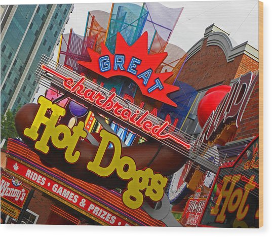 Great Charbroiled Hot Dogs Wood Print by Elizabeth Hoskinson