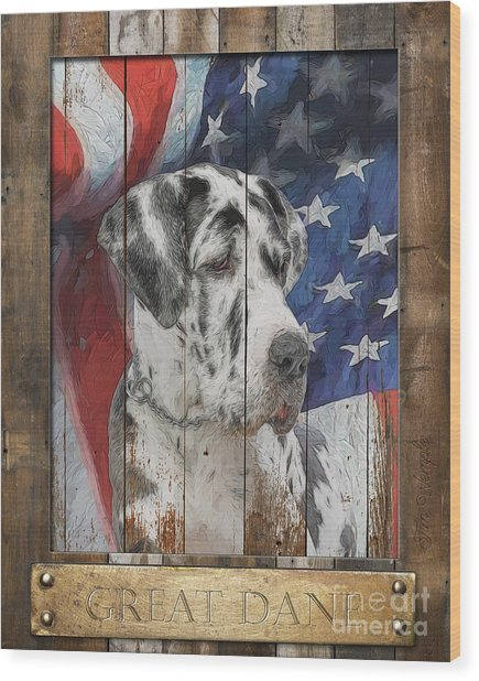 Great Dane Flag Poster Wood Print by Tim Wemple