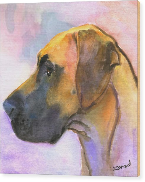 Great Dane Wood Print by Mary Jo Zorad