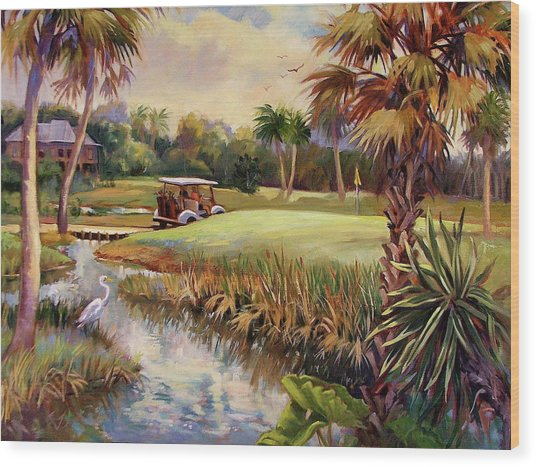 Great Day For Golf Wood Print by Dianna Willman