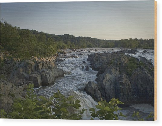 Great Falls Wood Print by Christina Durity