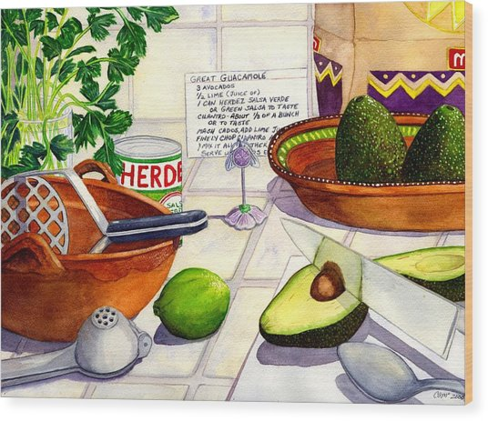 Great Guac. Wood Print by Catherine G McElroy