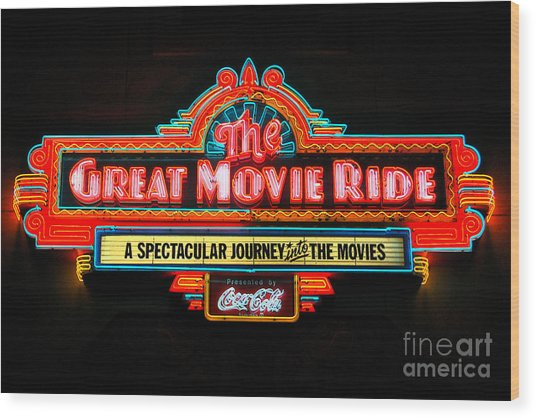 Great Movie Ride Neon Sign Hollywood Studios Walt Disney World Prints Ink Outlines Wood Print