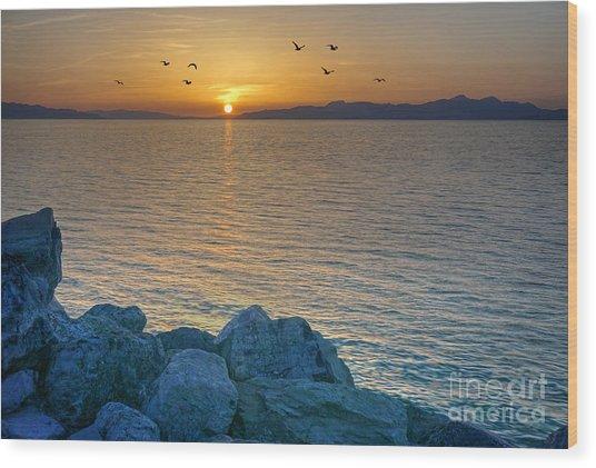 Great Salt Lake At Sunset Wood Print