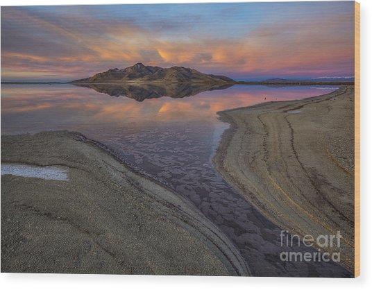 Great Salt Lake Sunset Wood Print