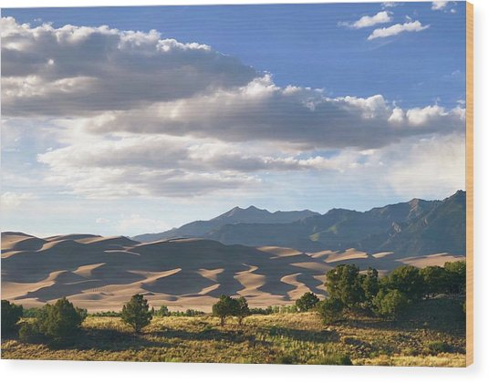 Great Sand Dunes At Dusk Wood Print