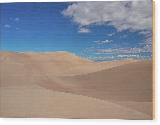 Great Sand Dunes Under A Blue Sky Wood Print