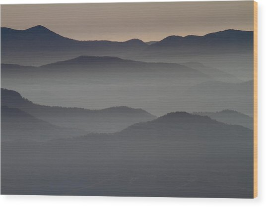 Great Smokey Mountains Shrouded In Fog Wood Print