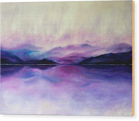 Great Smoky Lakeside Wood Print