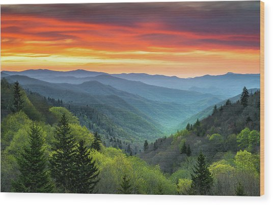 Great Smoky Mountains National Park Gatlinburg Tn Scenic Landscape Wood Print