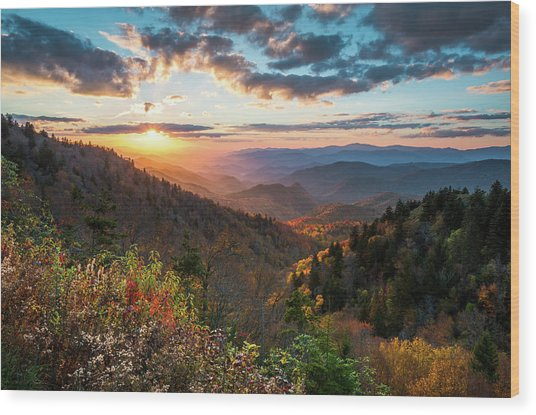 Great Smoky Mountains National Park Nc Scenic Autumn Sunset Landscape Wood Print
