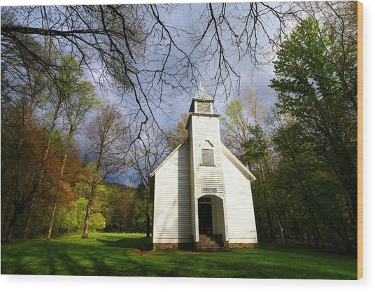 Great Smoky Mountains Spring Storms Over Palmer Chapel  Wood Print