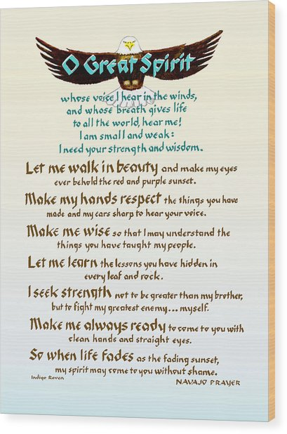 Great Spirit Prayer Wood Print
