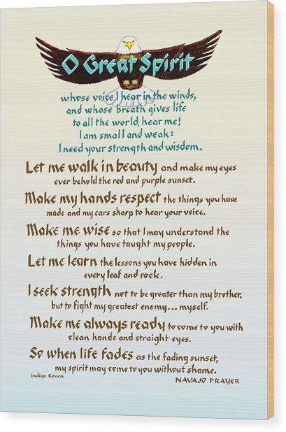 Great Spirit Prayer Wood Print